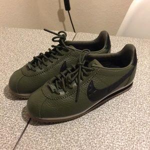 Olive Green Nike Cortez iD Pendleton Leather Shoes